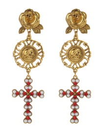 Fashion Gold Color Cross Shape Decorated Long Earrings