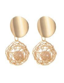 Fashion Gold Color Pearl Decorated Pure Color Earrings