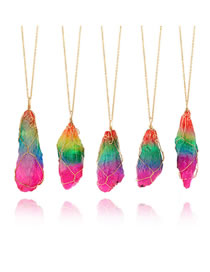 Fashion Multi-color Stone Decorated Color Matching Necklace(1pc)