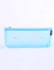 Fashion Blue Cactus Pattern Decorated Pencil Case
