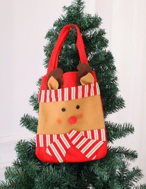 Fashion Red+brown Elk Pattern Decorated Christmas Handbag
