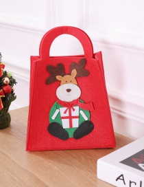Fashion Brown+red Elk Pattern Decorated Christmas Gift Bag