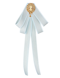 Fashion Light Blue Girl Pattern Decorated Bowknot Brooch