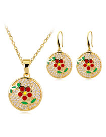 Elegant Red+green Sunflower Pattern Decorated Jewelry Sets