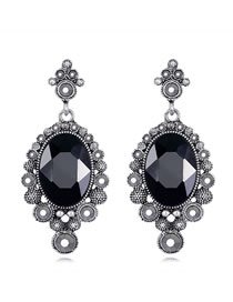 Elegant Black Full Diamond Design Oval Shape Earrings