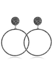 Elegant Antique Silver Full Diamond Design Round Shape Earrings