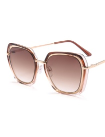Fashion Brown Round Shape Design Pure Color Sunglasses