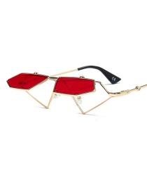 Fashion Red Irregular Shape Design Flip Sunglasses