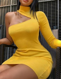 Fashion Yellow One-shoulder Design Pure Color Dress