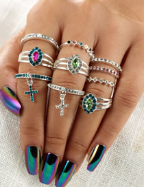 Fashion Multi-clor Cross Shape Decorated Rings(10pcs)