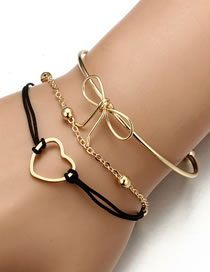 Fashion Gold Color Bowknot Decorated Simple Bracelet(3pcs)