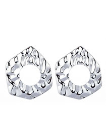 Fashion Silver Color Pure Color Design Hollow Out Earrings