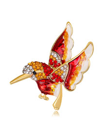 Fashion Red Bird Shape Decorated Brooch