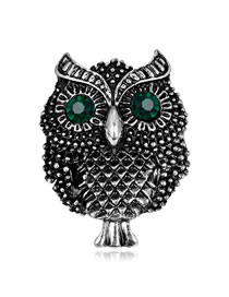 Fashion Silver Color Owl Shape Decorated Brooch