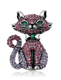Fashion Multi-color Full Diamond Decorated Cat Shape Brooch