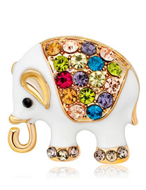 Fashion White+gold Color Elephant Shape Decorated Brooch