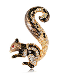 Fashion Gold Color Squirrel Shape Decorated Brooch