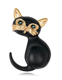 Fashion Black Cat Shape Decorated Brooch