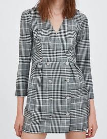 Fashion Gray V Neckline Design Grid Pattern Coat