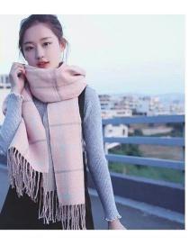 Fashion Pink Grid Pattern Design Long Tassel Shawl