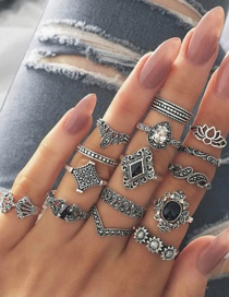 Fashion Silver Color Geometric Shape Decorated Rings Set