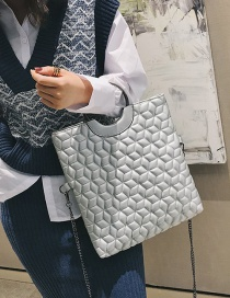Fashion Silver Color Grids Pattern Decorated Handbag