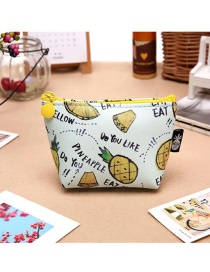 Fashion White+yellow Pineapple Pattern Decorated Coin Purse