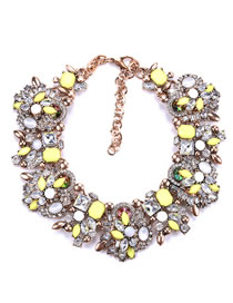 Fashion Yellow Full Diamond Decorated Necklace
