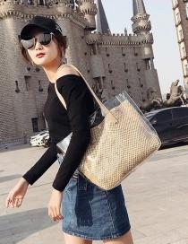 Fashion Khaki Grid Pattern Decorated Shoulder Bag