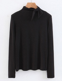 Fashion Black Bowknot Shape Decoreated Shirt