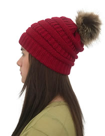 Fashion Claret Red Pure Color Decorated Hat