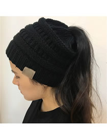 Fashion Black Stripe Pattern Decorated Pure Color Hat
