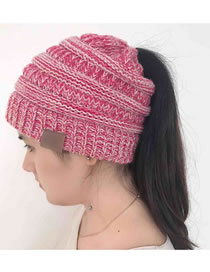 Fashion Pink+white Stripe Pattern Decorated Pure Color Hat