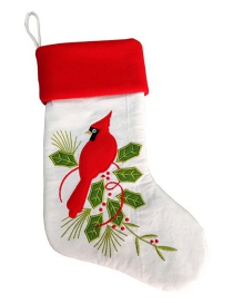 Fashion Red+white+green Bird Pattern Decorated Christmas Sock