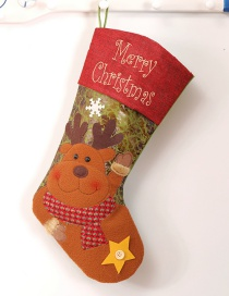 Fashion Brown Deer Pattern Decorated Christmas Sock