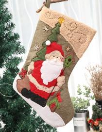 Fashion Khaki Santa Claus Pattern Decorated Christmas Sock