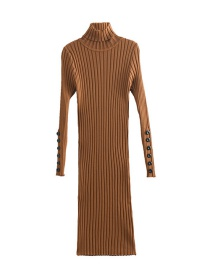 Fashion Brown Pure Color Decorated Long Dress