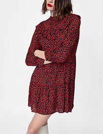 Fashion Red Flower Pattern Decortated Long Sleeves Dress