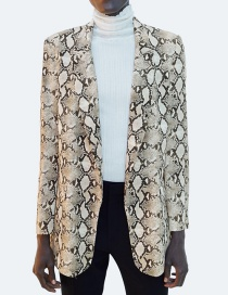 Fashion Gray Snakeskin Pattern Decorated Coat