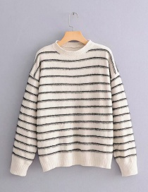 Fashion Beige Stripe Pattern Decorated Sweater