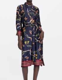 Fashion Navy Flower Pattern Decorated Long Sleeves Dress