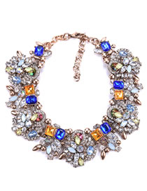 Fashion Sapphire Blue Full Diamond Decorated Necklace