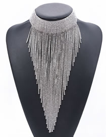 Fashion Silver Color Full Diamond Decorated Necklace