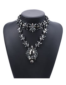 Fashion Gray Water Drop Shape Decorated Necklace