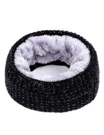 Fashion Black Pure Color Decorated Scarf