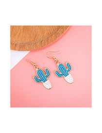 Simple Blue Cactus Shape Decorated Earrings