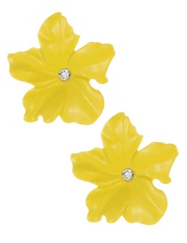 Fashion Yelloe Flower Shape Decorated Earrings