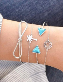 Fashion Silver Color Triangle Shape Decorated Bracelet (3 Pcs)