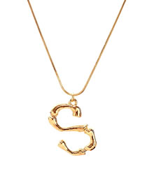 Simple Gold Color Letter S Shape Decorated Necklace