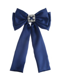 Fashion Navy Diamond Decorated Bowknot Brooch